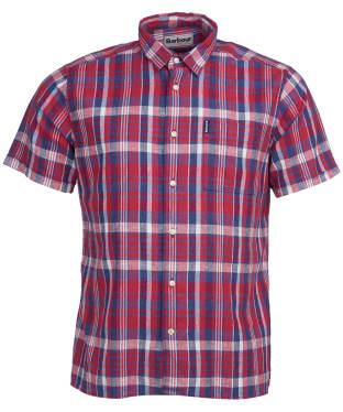 Men's Barbour Linen Mix 2 S/S Summer Shirt - Red