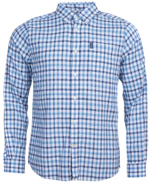 Men's Barbour Linen Mix 3 Tailored Shirt - Blue Check