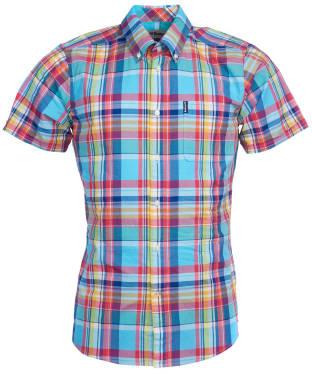 Men's Barbour Madras 8 S/S Tailored Shirt - Aqua Check
