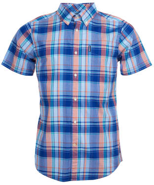 Men's Barbour Madras 8 S/S Tailored Shirt - Inky Blue Check