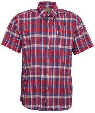 Men's Barbour Linen Mix 2 S/S Regular Shirt - Red Check