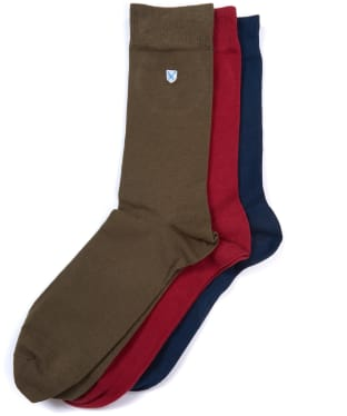 Men's Barbour Saltire 3 Pack Socks - Navy / Red / Olive