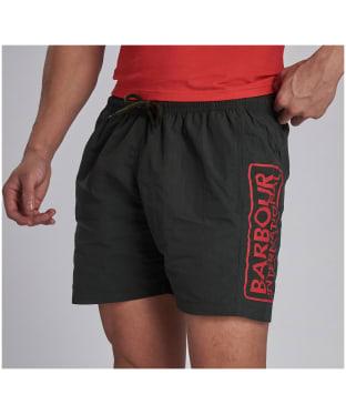 Men's Barbour International Large Logo Swim Shorts - Jungle Green