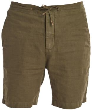 Men's Barbour Linen Mix Shorts - Military Green