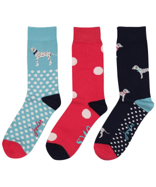 Women's Joules Brilliant Bamboo 3 Pack Socks - Red Dalmatian