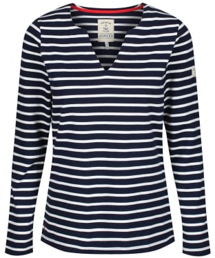 Women's Joules Harbour Notch Neck Top - Navy / Cream Stripe