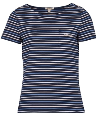 Women's Barbour Short Sleeved Hawkins Stripe Top - Navy Stripe