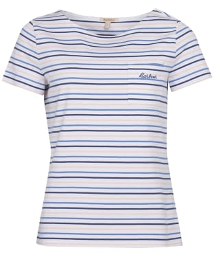 Women's Barbour Short Sleeved Hawkins Stripe Top - White Stripe