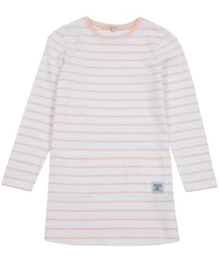 Girl's Barbour L/S Striped Dress, 6-9yrs - Pale Coral