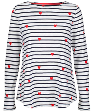 Women's Joules Harbour Light Swing Long Sleeve Jersey Top - Heart Stripe