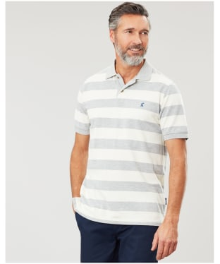 Men's Joules Filbert Polo Shirt - Grey / Cream Stripe