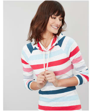 Women's Joules Marlston Hooded Sweatshirt - Cream / Pink Stripe