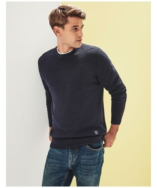 Men's Crew Clothing Multi Texture Sweatshirt - Dark Navy
