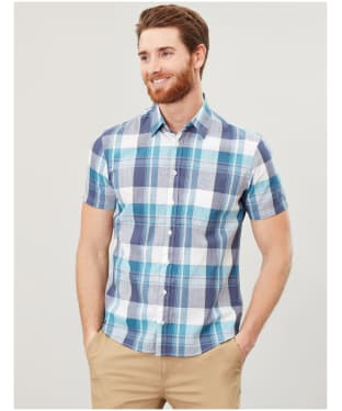 Men's Joules Wilson Short Sleeved Shirt - White / Green Check