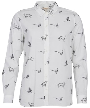 Women's Barbour Safari Shirt - Off White Dog Print
