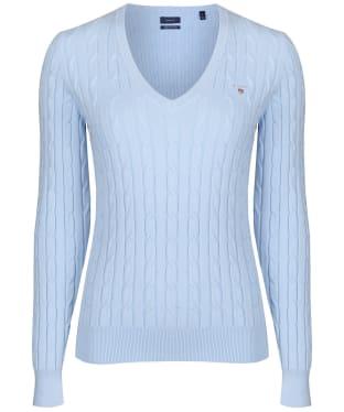 Women's Gant Stretch Cotton Cable V-Neck - Hamptons Blue
