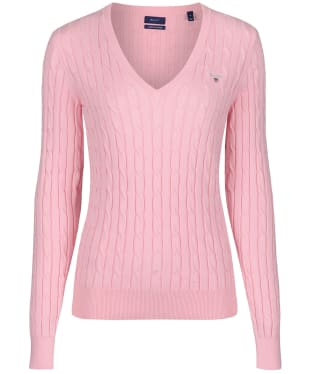 Women's Gant Stretch Cotton Cable V-Neck - Preppy Pink
