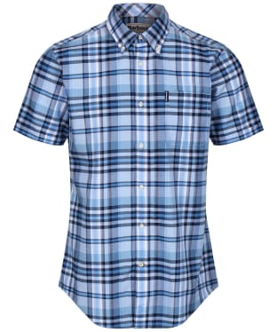 Men's Barbour Madras 5 S/S Tailored Shirt - Mid Blue Check