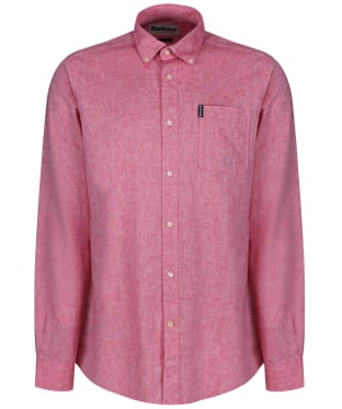 Men's Barbour Linen Mix 1 Tailored Shirt - Red