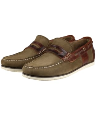 Men's Barbour Keel Boat Shoes - Olive / Mahogany