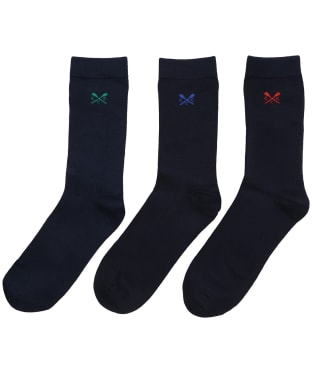 Men's Crew Clothing 3-pack Bamboo Plain Socks - Navy / White / Grey