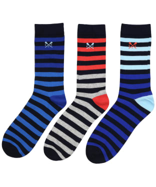 Men's Crew Clothing 3 Pack Stripe Socks - Orange / Blue / Navy