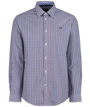 Men's Crew Clothing Classic Tattersall Shirt - Spirit Blue / Cranberry