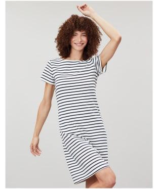 Women's Joules Riviera Short Sleeve Jersey Dress - Cream / Navy Stripe