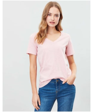 Women's Joules Celina Drapey V-neck T-shirt - Pale Pink