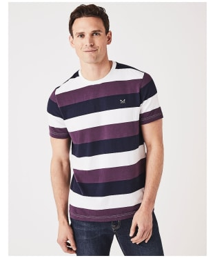 Men's Crew Clothing Hodder Stripe Tee - White / Lavender
