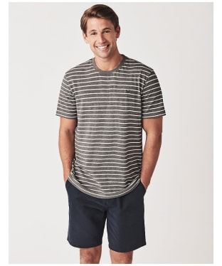 Men's Crew Clothing Marshaw Striped Tee - Grey Marl / White