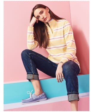 Women's Crew Clothing Summer Padstow Stripe Sweatshirt - Yellow Stripe