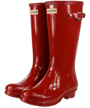 Hunter Original Kids Gloss Wellington Boots, 12-4 - Military Red