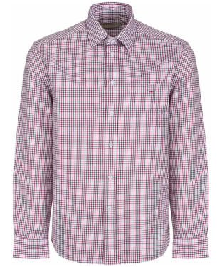 Men's R.M. Williams Collins Cotton Twill Shirt - Burgundy / White