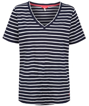 Women's Joules Celina Stripe Drapey V-neck T-shirt - Navy / Cream Stripe