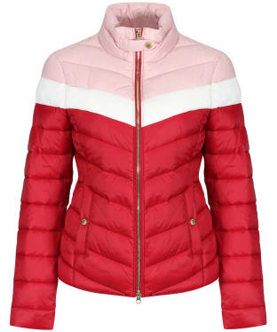 Women's Barbour International Auburn Blocked Quilted Jacket - RHUBARB/CLD/BLS