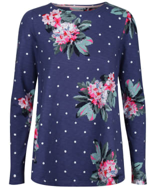 Women's Joules Harbour Light Swing Long Sleeve Jersey Top - Spot Blue Floral