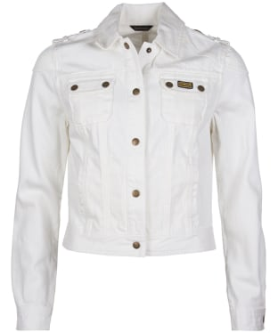 Women's Barbour International Durness Casual Denim Jacket - White