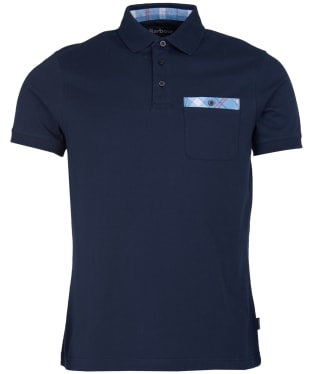 Men's Barbour Tartan Pocket Polo Shirt - Navy