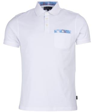 Men's Barbour Tartan Pocket Polo Shirt - White