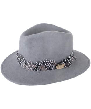Women's Hicks & Brown The Suffolk Fedora - Guinea Feather Wrap - Grey
