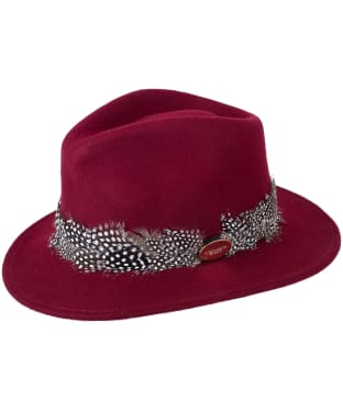 Women's Hicks & Brown The Suffolk Fedora - Guinea Feather Wrap - Maroon