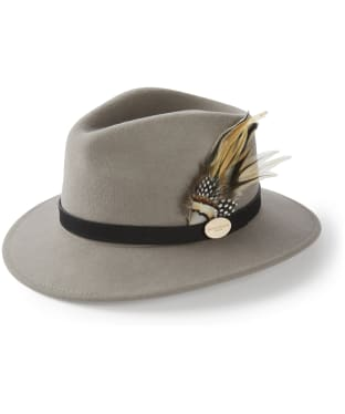 Women's Hicks & Brown The Suffolk Fedora - Guinea and Pheasant Feather - Grey