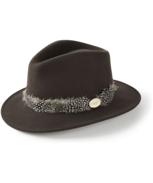 Women's Hicks & Brown The Suffolk Fedora - Guinea Feather Wrap - Brown