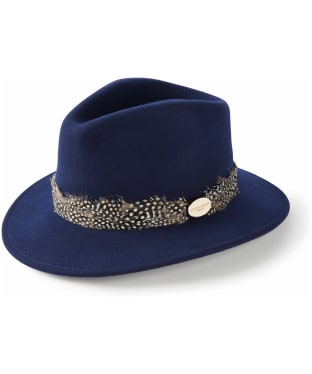 Women's Hicks & Brown The Suffolk Fedora - Guinea Feather Wrap - Navy