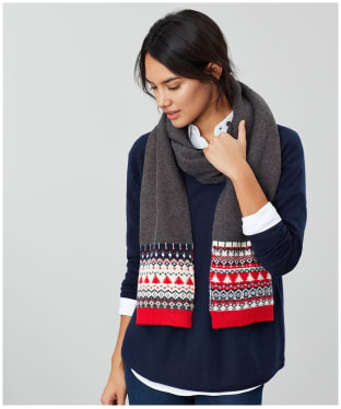 Women's Joules Swirlton Fairisle Knitted Scarf - Grey Fairisle