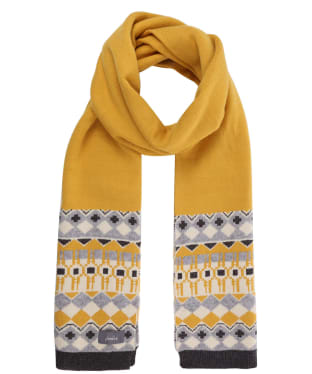 Women's Joules Swirlton Fairisle Knitted Scarf - Gold Fairisle