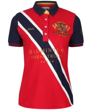 Women's Joules Badminton Horse Trials Polo Shirt - Red