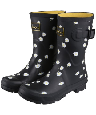 Women's Joules Molly Mid Height Wellies - Black Daisy