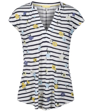 Women's Joules Ryder Print Vest - Navy Meadow Stripe